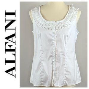 Alfani Ruffle Collar Cream Sleeveless Top 6